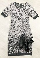 Clements Ribeiro Size 10 Grey Mix Jumper Dress Short Sleeve Casual