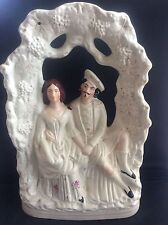 """Staffordshire Arbour Flatback Titled figure group c1860 Robbie Burns & Mary 14"""""""