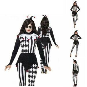 Adults Jester Lady Fancy Dress Costume Ladies Harlequin Clown Womens Halloween