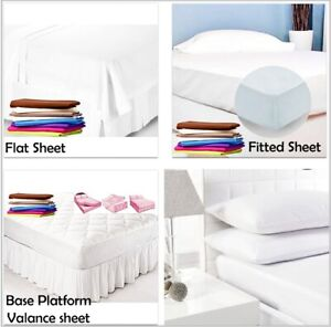 Fitted Flat Base Platform Valance Sheets 100% Cotton Percale Quality Pillow Case