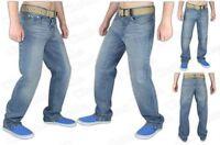 New Men's Heavy Duty Cotton Regular Fit Straight Leg Denim Jeans + Free Belt