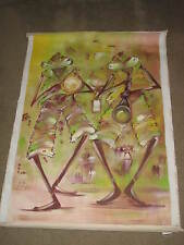 NORTEI NORTEY ORIGINAL CANVAS PAINTING *26x43*COLORFUL MUSICIANS PLAYING/DANCING