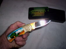 """Knife with tractor on handle Tin carry case.Foldable7"""" #PK2020JD Green   7 oz"""
