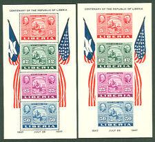LIBERIA #C56a Souvenir sheets, perf & imperf, og, NH