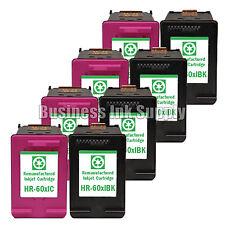 8 PACK HP 60XL Reman ink cartridges CC641WN CC644WN HP60XL HP 60 XL HP 60XL