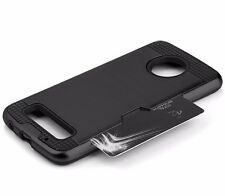 For Motorola Moto Z Play -HARD HYBRID CREDIT CARD ID SLOT ARMOR CASE COVER BLACK
