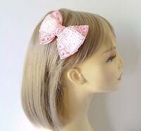 Gorgeous 10cm sparkly Baby pink & white rhinestone & grosgrain ribbon hair clip