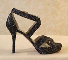 Michael Kors Evie Platform Cheetah Brown Glitter & Leather Heel Sandal Size 8