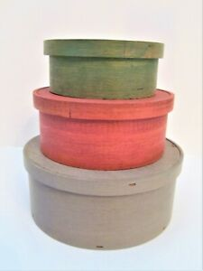 Set of 3 Color Stained Balsa Wood Stacking Nesting Round Boxes