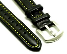 18mm Black Leather Yellow Stitching Men's Watch Band With 2 Spring Bar