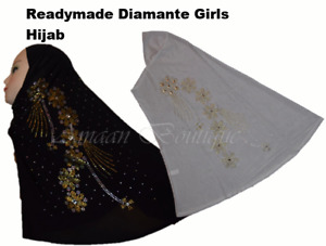 New Muslim Youth Girls Children Diamante Readymade Headscarf With Stone Work