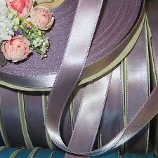 "50y SPOOL 5/8"" VIOLET GRAY DBL FACE SATIN RIBBON DOLL DRESS TRIM VTG ANTQ WEDDIN"