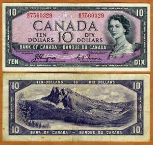 Canada, $5, 1954, P-69a, QEII, VF > Devil's Face