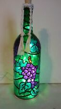 Grapes Wine Lover Wine Bottle Lamp Hand Painted Lighted Stained Glass look