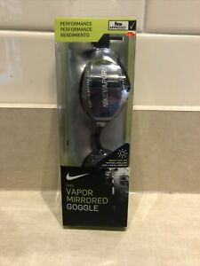 Nike Swim~Vapor Mirrored Performance Adult Goggle~ Swimming Goggles~Black/Silver