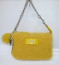 NWT COACH Nolita Shearling & Leather Zip Pouch 64748
