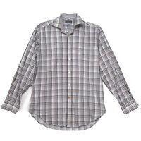 Thomas Dean Shirt Mens Size M Medium White Brown Plaid Long Sleeve Flip Cuff **