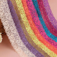 2 Y Elastic Band Embroidered Lace Trim Clothing Wedding Dress Sewing Fringe DIY