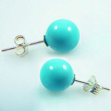 pearl silver Stud earrings Aaa + Elegant 10mm Turquoise blue south sea shell