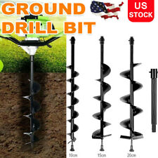 4 6 8 Earth Auger Drill 3 Bits For Gas Powered Post Fence Spiral Hole Digger
