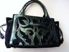BRACCIALINI ITALY PEARLIZED GREEN BLACK LEATHER SATCHEL BAG
