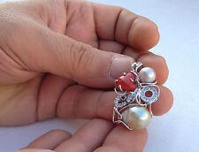 Ciondolo argento 925 corallo e perle pendant pearl made in italy