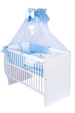 Babybett T1 mit 10-tlg Komplett-Set Bettwäsche Matratze Nestchen Teddy blau Neu