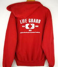 Jerzees Mens Red Lifeguard Zip Up Hoodie Size M View Ridge Cotton Sweatshirt.