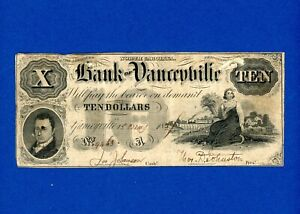 1857 $10 Bank of Yanceyville, VERY RARE NICE HIGHER GRADE NOTE