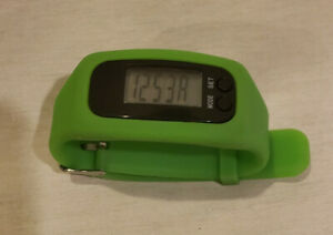 Fit Step Activity Tracker Green Steps and Miles, Also keeps time