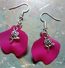 petal earrings dangle (T3) Rose flower on hot pink