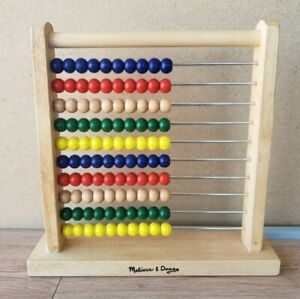 Melissa & Doug Wooden Primary Color Abacus Learning Math Toy