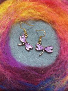 Beautiful Boho Dragonfly Earrings purple