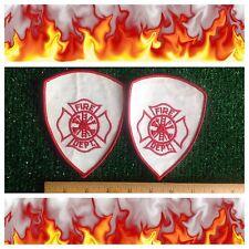 "Fire Department Hook Ladder Ax Lot 2 Iron/Sew-on Uniform Logo Shield 5"" Patches"