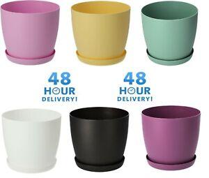 Flower Pots 6 Colours 8 sizes Matt Plastic Plant Pots Planter + Saucer Tray Deco