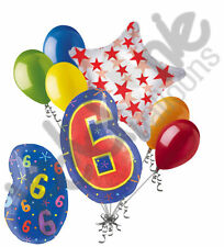 7 pc 6th Birthday Theme Balloon Bouquet Party Decoration Number 6 Primary Color