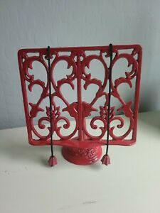 Red Victorian Wrought Iron Cookbook Stand