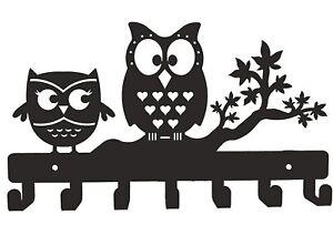 Attractive Design Owl Duo Metal Key Holder Black,27 X 15.5 X 2.5 Cm, Wall Mount