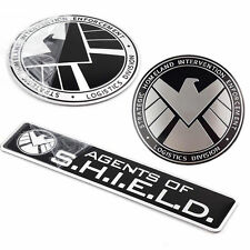 3pcs Avengers Marvel Agents of SHIELD 3D Chrome Metal Car Sticker Badge Emblem