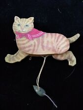 """Vintage Midwest Importers Wood Tabby Cat & Mouse String Tail & Legs Approx. 5"""" L"""