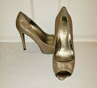 Guess Patches Gold Glitter Peep Toe Stiletto Heel Platform Pumps Shoes Size 7 M