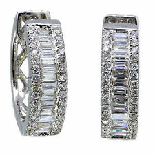 14k White Gold Baguette Diamond & Round Cut Earring Huggie 1.64 Carat