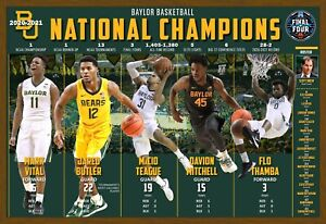 """BAYLOR BEARS 2021 NATIONAL CHAMPIONS 19""""x13"""" COMMEMORATIVE POSTER"""