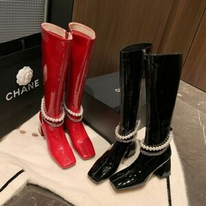 Western Fashion Women's Booties Block Heel Patent Leather Riding Knee High Shoes