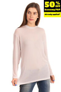 RRP €150 IRO Longline T-Shirt Top Size S See Through Crew Neck Made in Japan