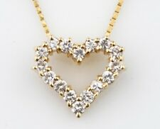 PRECIOSO 14k Oro Amarillo Diamante Colgante corazón abierto con / 40.6cm