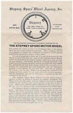 1907 Stepney Spare Wheel Agency Inc. Adv. Price List & Testimonial - NY