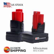 2 Pack 12 Volt Milwaukee 48-11-2440 M12 Xc 4.0Ah Red Lithium Ion Battery