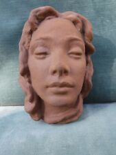 Karlsruhe Majolika Manufaktur Beautiful Girl Wall  Mask Terracotta Mid Century
