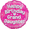 """Happy Birthday Grand Daughter Pink 18"""" Foil Helium Balloon Party Decoration"""